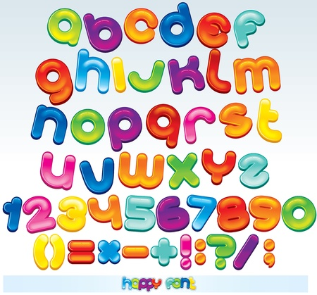 nombres: Multicolores police vectorielle, disponible pour tous des lettres, nombres et signe