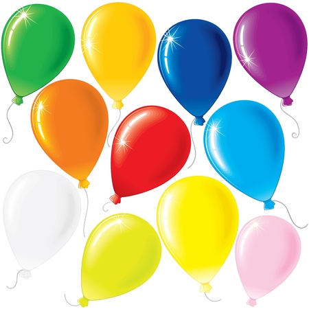 Vector Set of Color Balloons isolated on White Background Vector