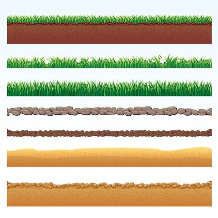 Ground Cutaway, Desert en Grass Elements, Vector Illustraties