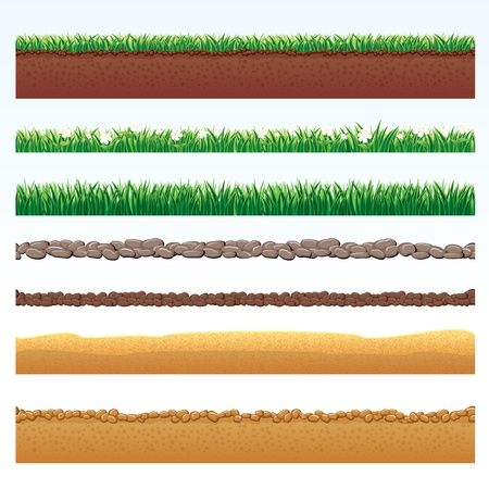 in ground: Spaccato di terra, deserto ed elementi di erba, illustrazioni vettoriali