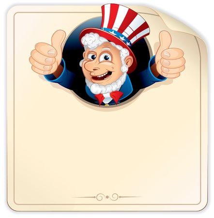 Cartoon Uncle Sam with Blank Paper Sign, vector illustration ready for your design Stock Vector - 9932838
