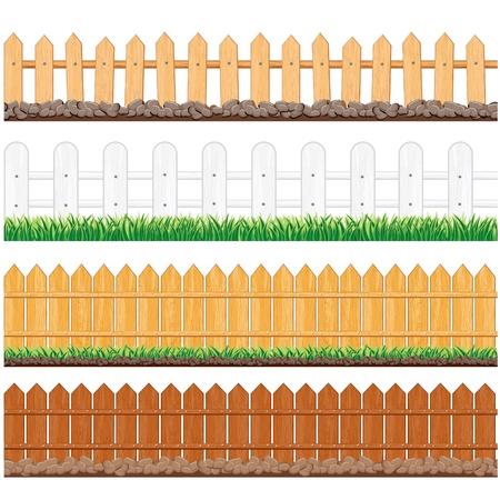 esgrima: Ilustraci�n vectorial de varias vallas madera y otras barreras