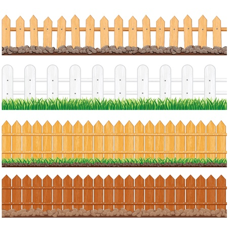 picket fence: Vector Illustration of Various Wooden Fences and other Barriers