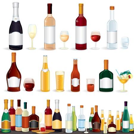 様々 な人気のあるアルコール飲料からバー、白で隔離されるベクトル クリップ アート  イラスト・ベクター素材