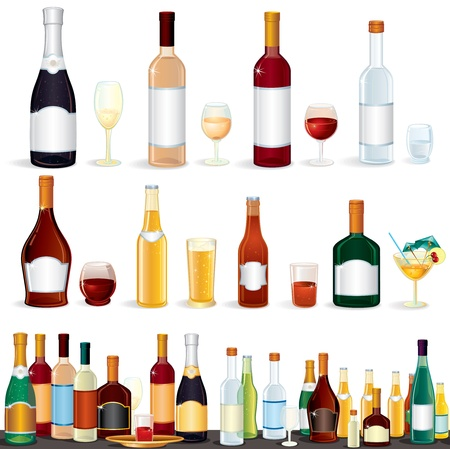 Variety popular alcohol Beverages from Bar, vector clip art isolated on white