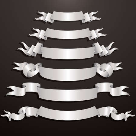 Set of Decorative White Ribbons Stock Vector - 9944583