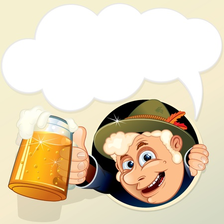 deutsch: Illustration of Vetor Drunk Man with empty speech bubble for your text. Illustration