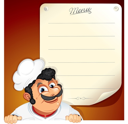 chefs whites: Vector Background with Smiling Chef and Blank Menu Illustration