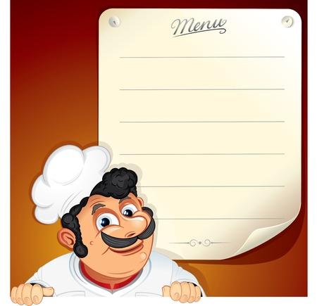 chef caricatura: Vector fondo con sonriente Chef y el menú en blanco