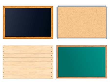 nailed: Blank Message Boards. Include Chalkboard, Corkboard, Blackboard, Wooden Sign. Vector illustrations set