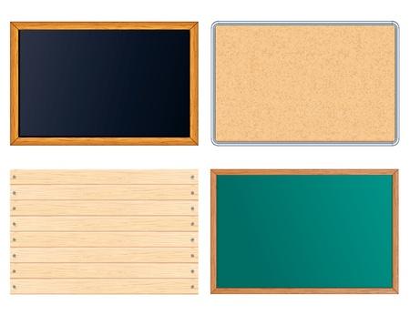planche de bois: Panneaux de Message vide. Inclure le tableau noir, conceptrice, Blackboard signe en bois. Ensemble des illustrations vectorielles Illustration