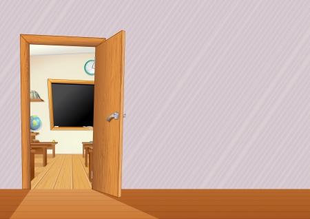 welcome door: Aula vuota con mobili in legno, scrivanie, Lavagna ... illustrazione vettoriale con copia spazio per il testo o disegno