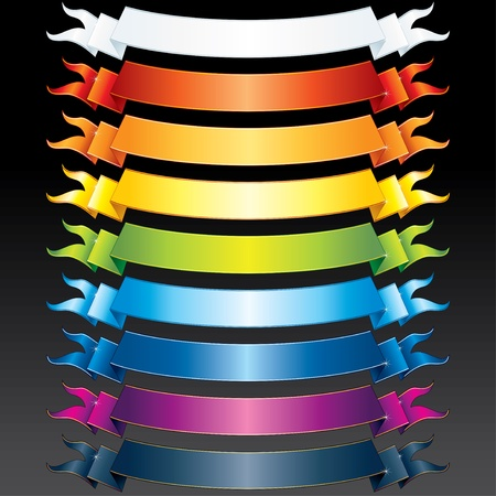 Set of vector Multicolored Ribbons for your own text or design