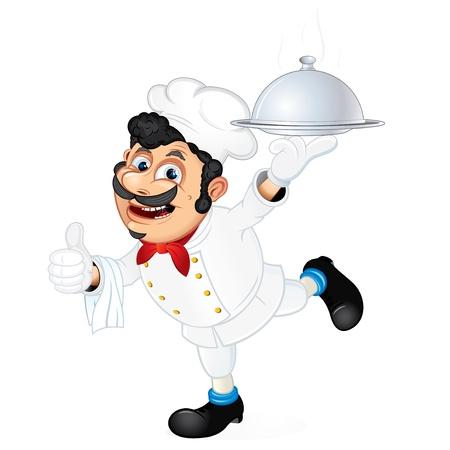 chef caricatura: Cocinero con una bandeja de servir comida, ilustración vectorial de dibujos animados