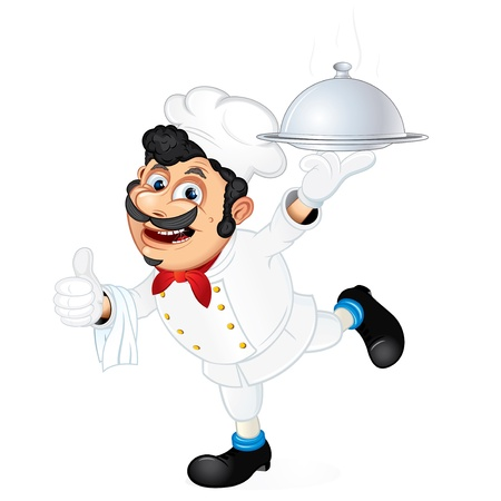 pokrywka: Szef kuchni z żywności obsługujących zasobnik, ilustracji wektorowych kreskówki