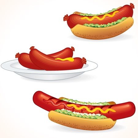 grilled vegetables: Fresh Hot Dogs - vector illustration for your design