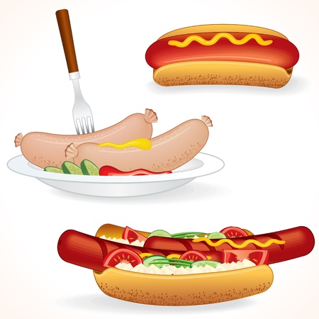 vendors: Hot Dog Variations. Sausages and other vector illustrations of Junk Food.
