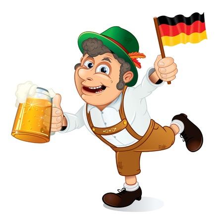 octoberfest: Gracioso hombre Oktoberfest con cerveza Stein y bandera de Alemania, vector de ilustración.
