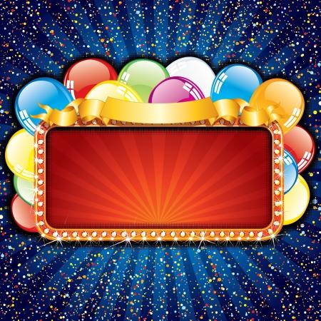 auguri di buon compleanno: Brillante felice compleanno segno con palloncini colorati, illustrazione vettoriale