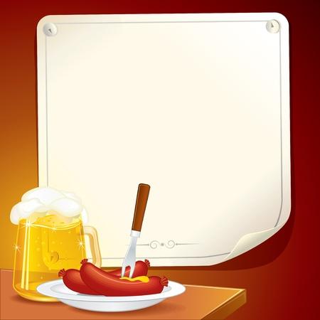 chorizos asados: Cerveza Stein y plato con salchichas a la parrilla. Ilustrado Oktoberfest vector cartel para texto o dise�o.