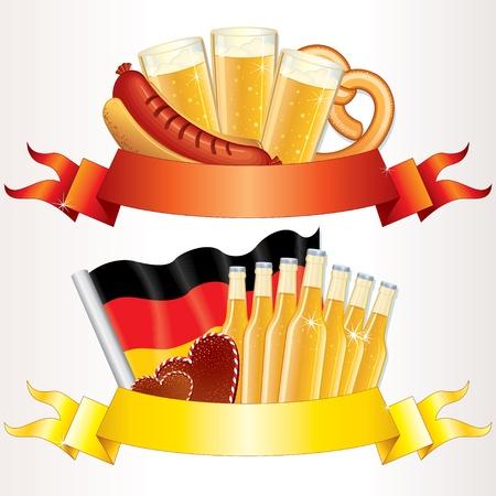 comida alemana: Banners de Oktoberfest, vector de elementos de dise�o para el texto Vectores