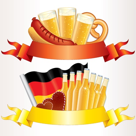 german food: Oktoberfest Banners, vector design elements for your text Illustration