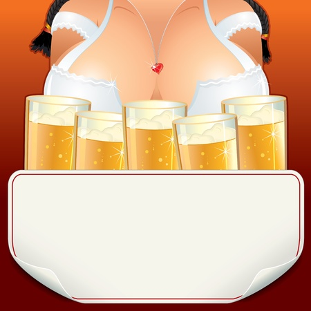 big boobs: Curvy Oktoberfest waitress Girl with lot of Beer Mugs, vector illustration include paper sign for your text. Illustration