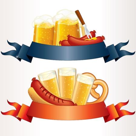 stein: Festivo Oktoberfest banner, intestazioni con birra, Wurst e Pretzel. Vector Illustration pronto per il proprio testo o design