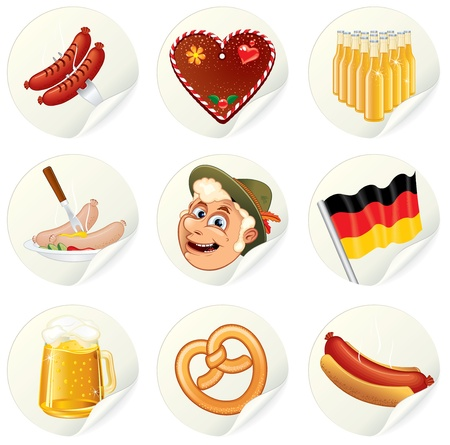 bratwurst: Vector Labels with Oktoberfest Symbols and illustrations. Set of vector icons for your design.