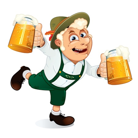 lederhosen: Hilarious Drunk Guy with mugs of beer at hands on a Oktoberfest festival, vector illustration Illustration