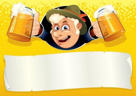 chope biere: Oktoberfest affiche avec souriant Brewer, pr�t pour votre texte ou de la conception, mod�le de vecteur.