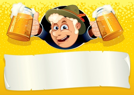 lederhosen: Oktoberfest Poster with smiling Brewer, ready for your text or design, vector template.