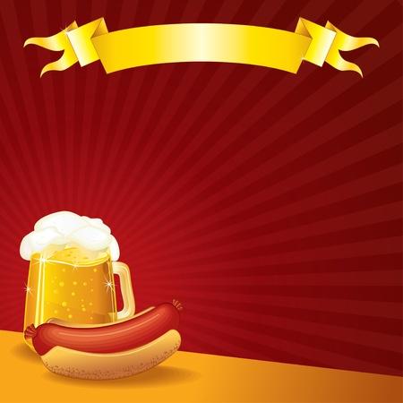 居酒屋テンプレート、ソーセージおよびビールのマグカップ、ベクトル イラスト copyspace