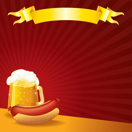 bratwurst: Tavern Template, Sausage and Mug of Beer, vector illustration with copyspace