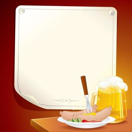 chope biere: Sc�ne Oktoberfest, plat avec saucisses bavarois traditionnels et chope de bi�re de bl�, illustration vectorielle comprennent les affiche sur le mur de votre texte ou de la conception