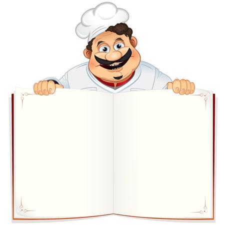 Grappige chef-kok met lege Cookbook, Menu of Kladblok, vectorillustratie