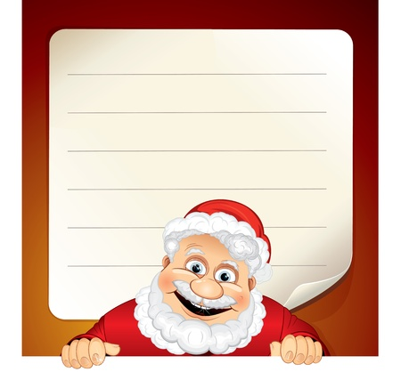 omens: Vector illustration of Cartoon Santa Claus and Blank Wish List