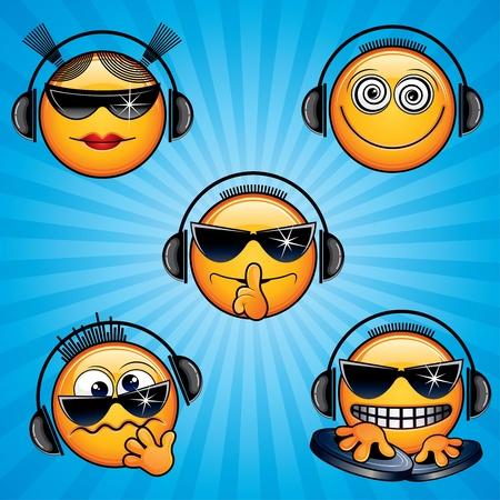 trance: Vector DJ Icons and Smileys
