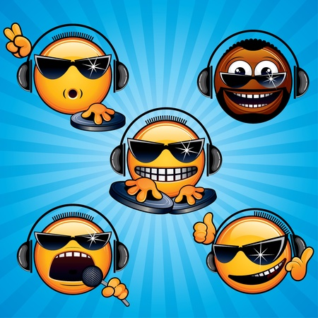 dj: Cartoon DJ Icons and Smileys. Variety vector Deejay Signals, Emotions and Gestures