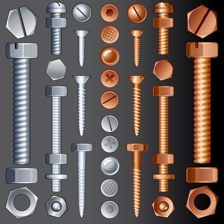 screw heads: Steel and Brass Hardware, vector set of Screws, Rivets and Bolts