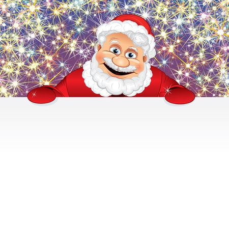 Vector Santa Claus with blank sign in front of a Christmas fireworks display Vector