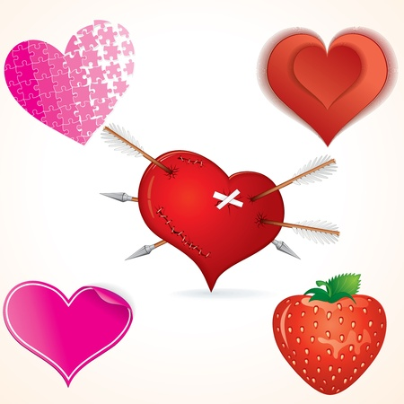 tempting: Heart Shapes vector Clip art Illustration