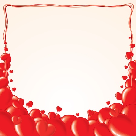 Vector Background with Red Hearts Vector