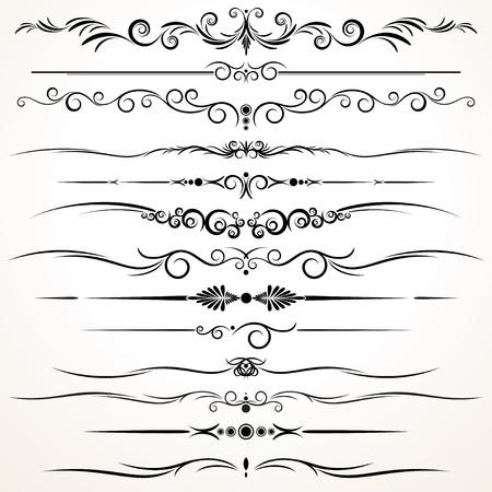Vector colección de ornamentales líneas de regla en los estilos de diseño diferente
