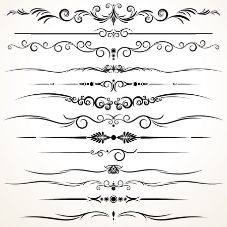 Vector Collection of Ornamental Rule Lines in Different Design styles Vector