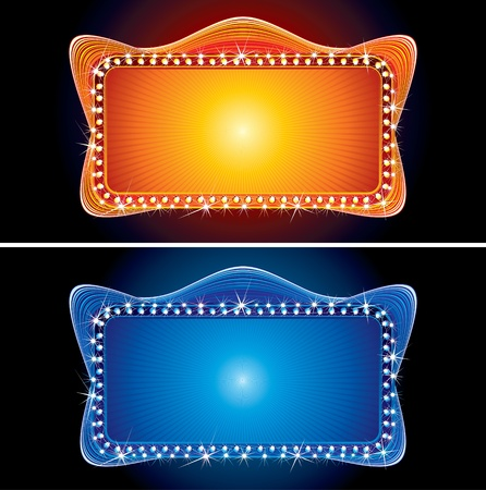 marquee sign: Vector illustration of Glowing Retro Theater Marquee Illustration