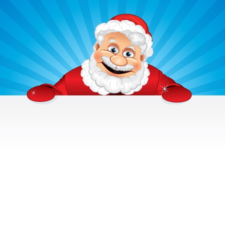 Cartoon Santa Claus holding a blank sign, vector illustration ready for your Greeting Text or Christmas design Vector