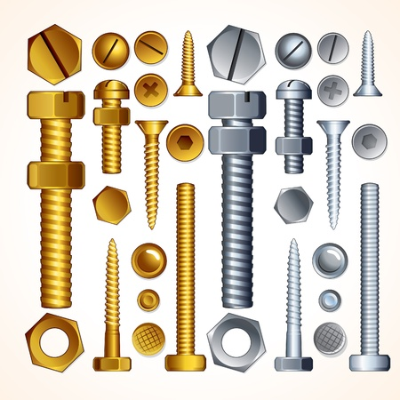 nut bolt: Metal Screws, Bolts, Nuts and Rivets, isolated vector elements for your design