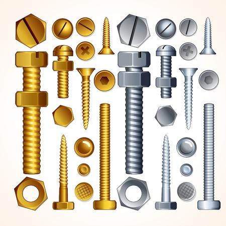 tuercas y tornillos: Tornillos, pernos, tuercas y remaches, elementos vectoriales aislado para el diseño de metal