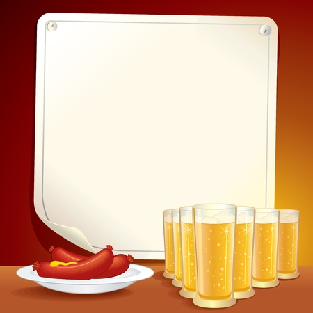 Beer background.Vector illustration of Pub Table with Beer and Snacks.